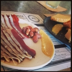 New Instagram: duck breast ham (really good), smoked almonds, mustard, gouda, pear gel #nomnom