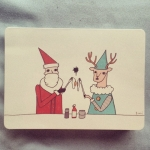 New Instagram: Santa and reindeer share breakfast (card took a while to get here haha) #art #santa #christmas #funny #reindeer #animals #eggs #breakfast #Ethos #card by #包大山 #台灣 #Taiwan #gift #fun #food #聖誕節 #holidays
