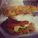 New Instagram: bbq pork + kimchi ramen burger. so good! #foodporn #nomnom #ramen #burger #kimchi #bbq #pork #好吃 #美食 #烤豬 #泡菜 #拉麵 #漢堡 #洛杉磯 #加州 #美國 #LA #haciendaheights