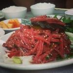 New Instagram: #korean #raw #beef #foodporn #nomnom #韓式 #好吃 #美食 #牛肉 #生牛肉 加 #蛋 .. 很有 #芝麻 的味道
