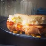 New Instagram: #breakfast #sandwich #泡菜 版 #foodporn #nomnom #kimchi #egg #mozzarella #corn #english #muffin #好吃 #美食 #早餐 #玉米 #蛋