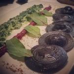 New Instagram: salmon-filled black ravioli. very delicious.